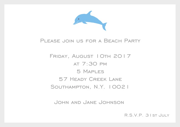 Online Invitation card with dolphine and matching colorful frame. Grey.