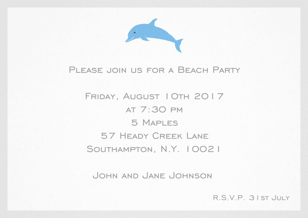 Invitation card with dolphine and matching colorful frame. Grey.