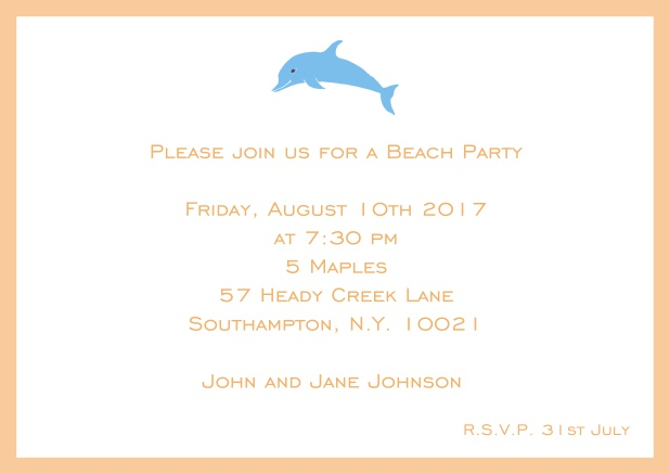 Online Invitation card with dolphine and matching colorful frame. Orange.