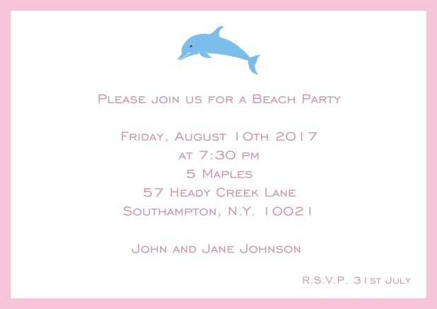 Online Invitation card with dolphine and matching colorful frame. Pink.