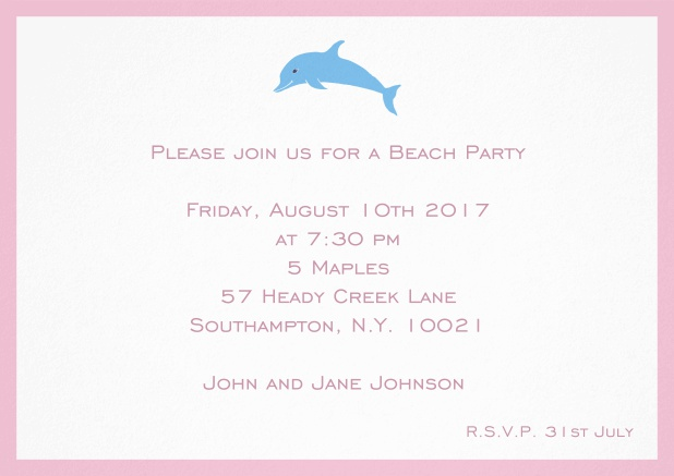 Invitation card with dolphine and matching colorful frame. Pink.