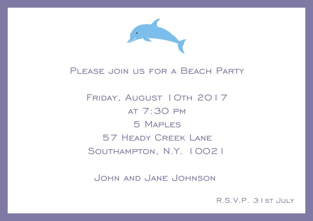 Online Invitation card with dolphine and matching colorful frame. Purple.
