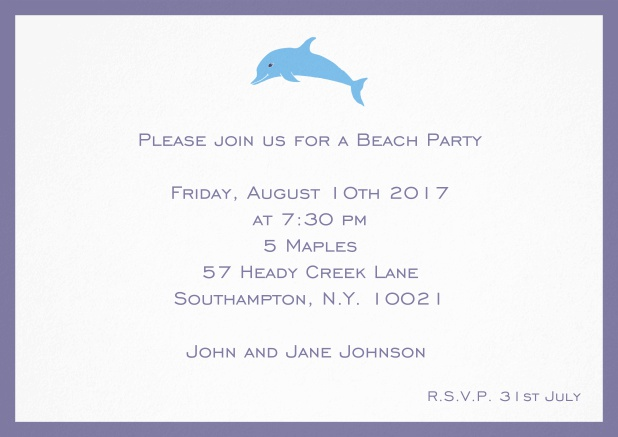 Invitation card with dolphine and matching colorful frame. Purple.