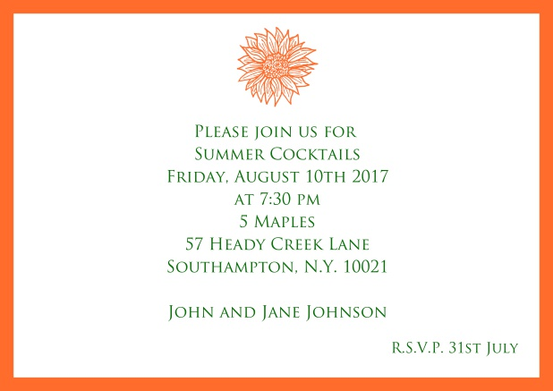 Online Invitation card with beautiful flower and matching colorful frame. Orange.