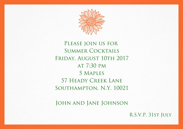 Invitation card with beautiful flower and matching colorful frame. Orange.