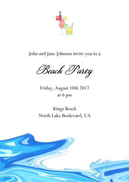 Drinks Online invitation card with cocktail glasses and water