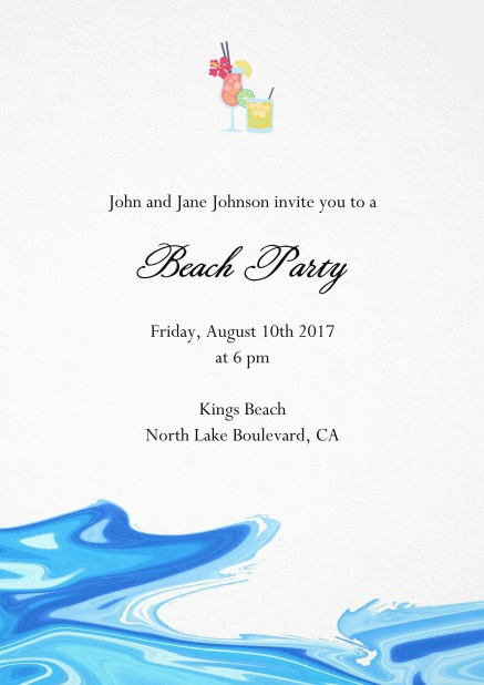 Drinks invitation card with cocktail glasses and water