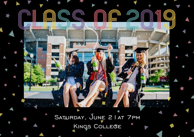 Class of 2019 graduation online invitation card with photo and colorful text. Black.
