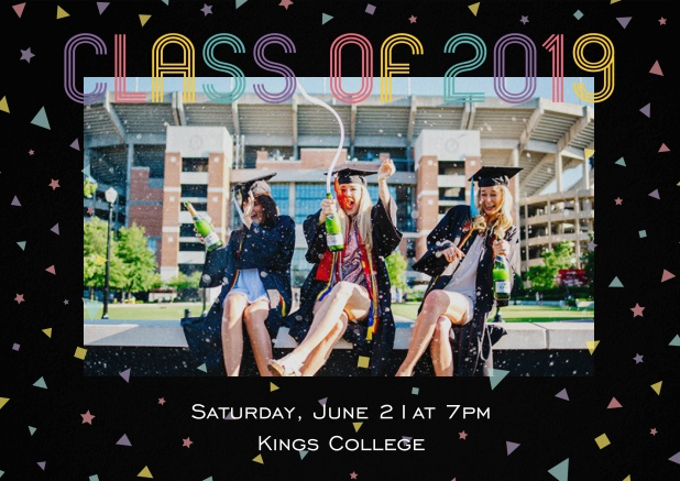 Class of 2019 graduation invitation card with photo and colorful text. Black.