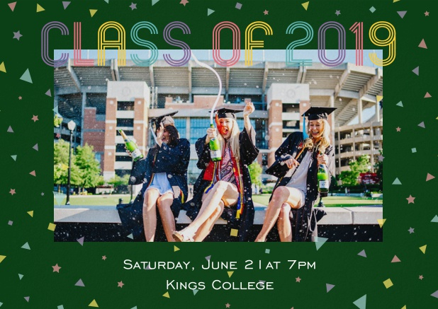 Class of 2019 graduation invitation card with photo and colorful text. Green.