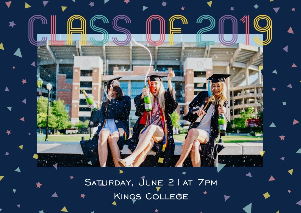 Class of 2019 graduation online invitation card with photo and colorful text. Navy.