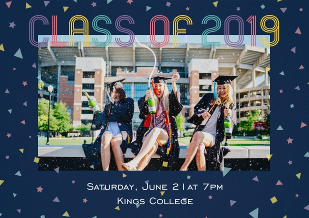Class of 2019 graduation invitation card with photo and colorful text. Navy.