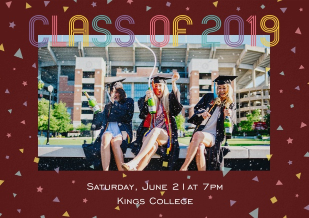 Class of 2019 graduation invitation card with photo and colorful text. Red.