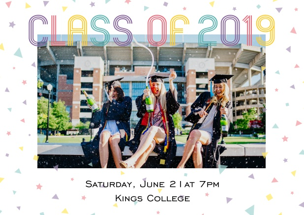 Class of 2019 graduation online invitation card with photo and colorful text. White.