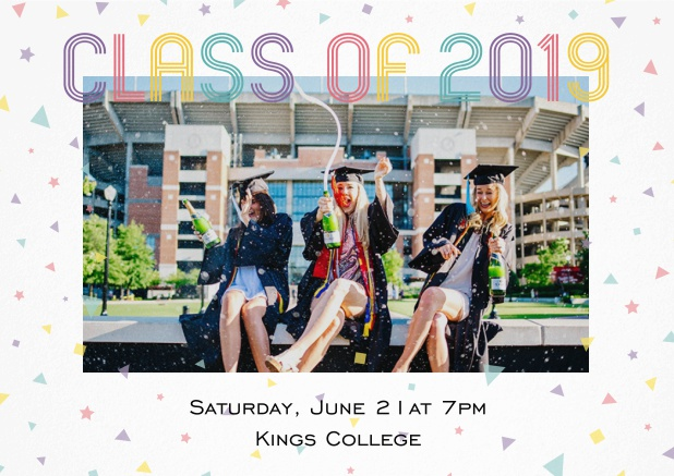 Class of 2019 graduation invitation card with photo and colorful text. White.