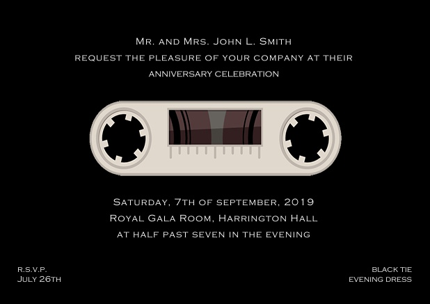Online invitation card designed as a cassette in color of choice. Black.