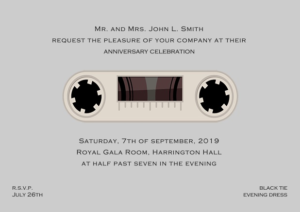 Online invitation card designed as a cassette in color of choice. Grey.