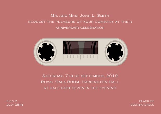 Online invitation card designed as a cassette in color of choice. Pink.