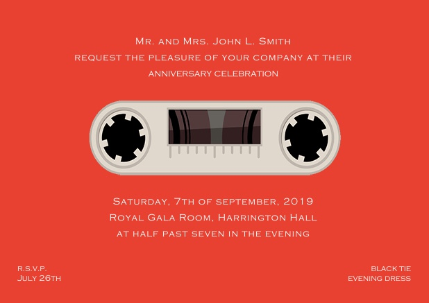 Online invitation card designed as a cassette in color of choice. Red.