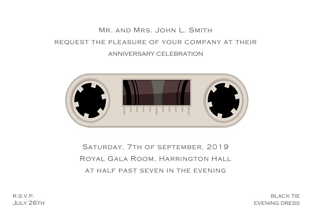 Online invitation card designed as a cassette in color of choice. White.