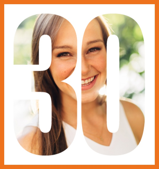 Online invitation card with cut out 30 for own photo, great for 30th Birthday invitations Orange.