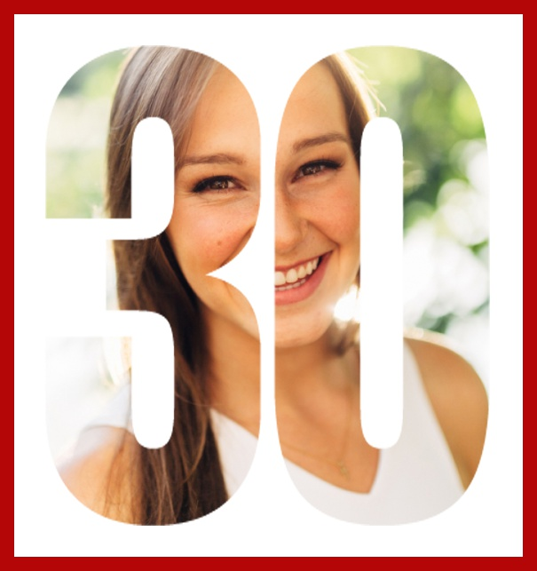 Online invitation card with cut out 30 for own photo, great for 30th Birthday invitations Red.