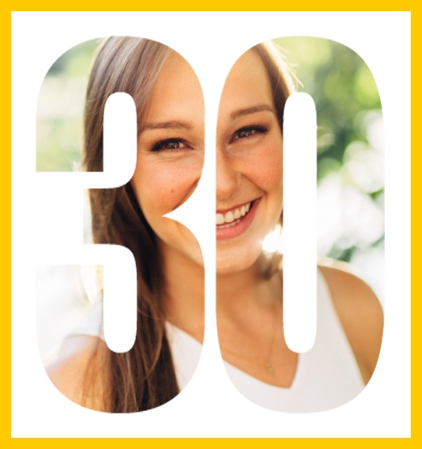 Online invitation card with cut out 30 for own photo, great for 30th Birthday invitations Yellow.
