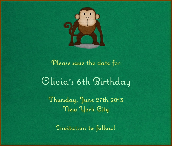 Green  Kids' Birthday Party Save the Date Card with Monkey theme.