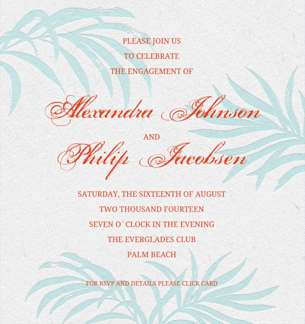 Online Wedding Invitation with palm background and red text.