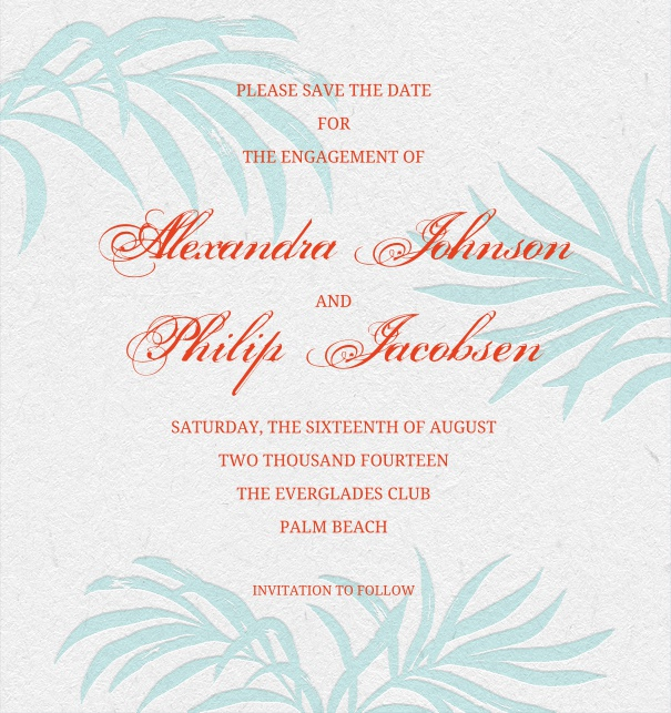 Summer-like Save the Date Card with grey background and light blue plants.
