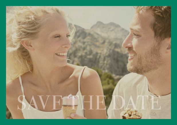 Online photo card with changeable photo and text Save the Date on the bottom. Green.