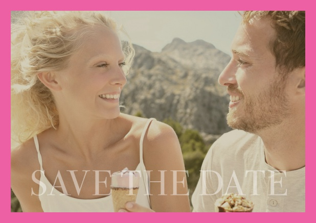 Online photo card with changeable photo and text Save the Date on the bottom. Pink.