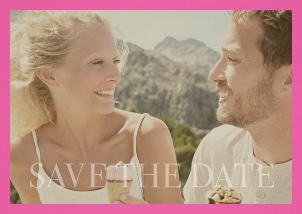 Save the Date photo card for wedding with changeable photo and text Save the Date on the bottom. Pink.