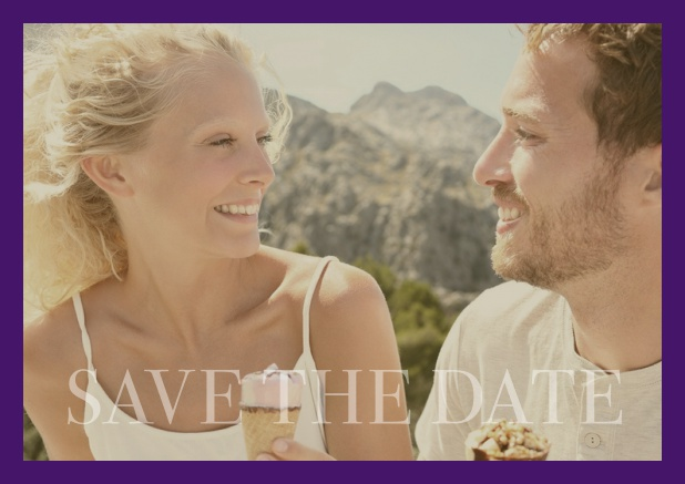 Online photo card with changeable photo and text Save the Date on the bottom. Purple.
