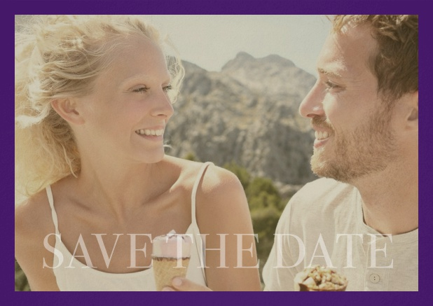 Save the Date photo card for wedding with changeable photo and text Save the Date on the bottom. Purple.