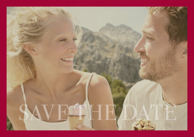 Save the Date photo card for wedding with changeable photo and text Save the Date on the bottom. Red.