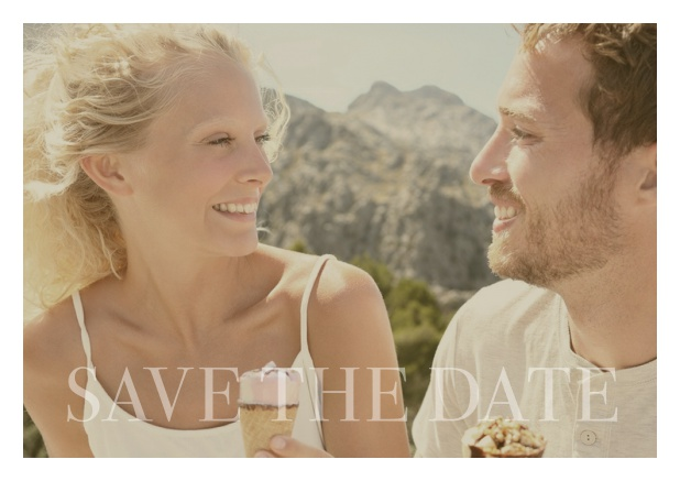 Online photo card with changeable photo and text Save the Date on the bottom. White.