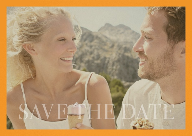 Save the Date photo card for wedding with changeable photo and text Save the Date on the bottom. Yellow.