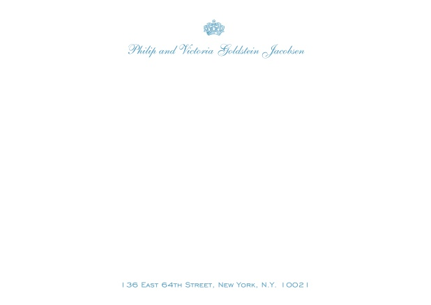 White online correspondence card with crown and text.