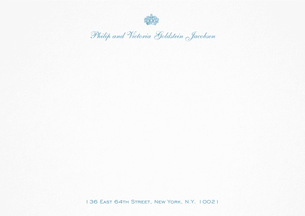 White correspondence card with crown and text.