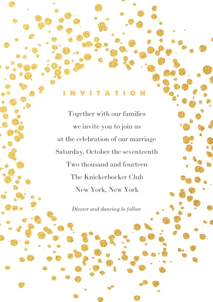 Online Cocktail or Birthday invitation card designed with golden fleck dots.