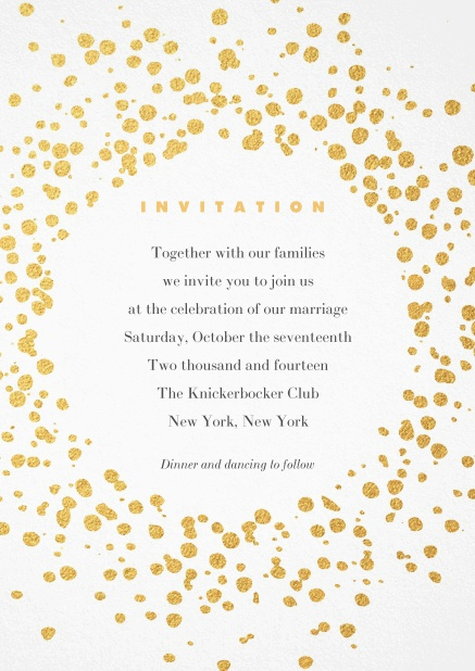 Cocktail or Birthday invitation card designed with golden fleck dots.