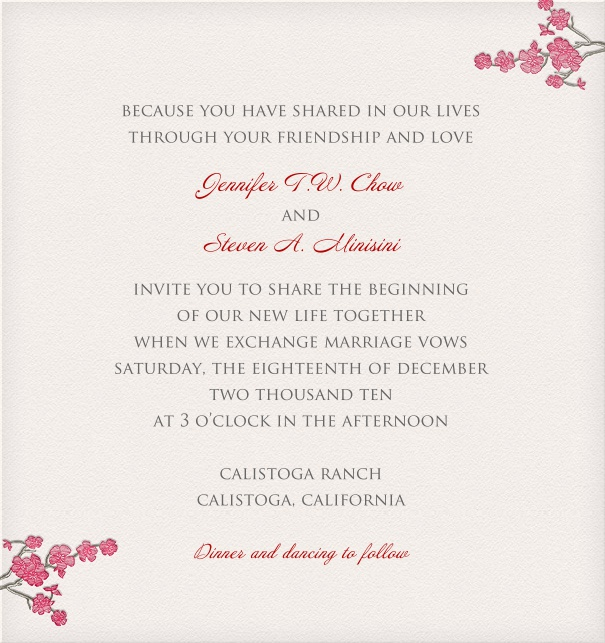 White Wedding Invitation Template with flowers and customizable text.