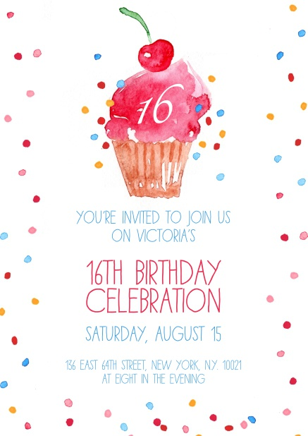 Online Invitation With Cup Cake And Confetti For 16th Birthday