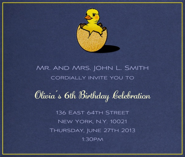 Yellow Kids' Birthday Party Invitation Design with Duckling.