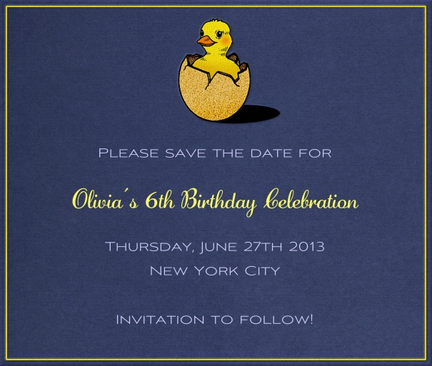 Blue Kids' Birthday Party Save the Date design with duckling Theme.