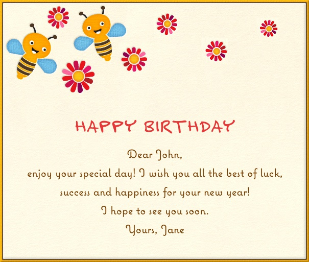 Beige Children's Card with Bumblebees.