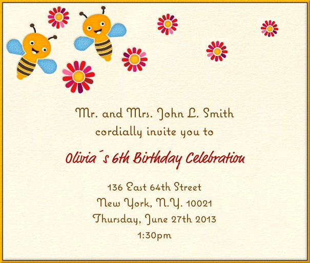 Square Yellow Kids' Birthday Party Invitation Design with Bees and flowers.