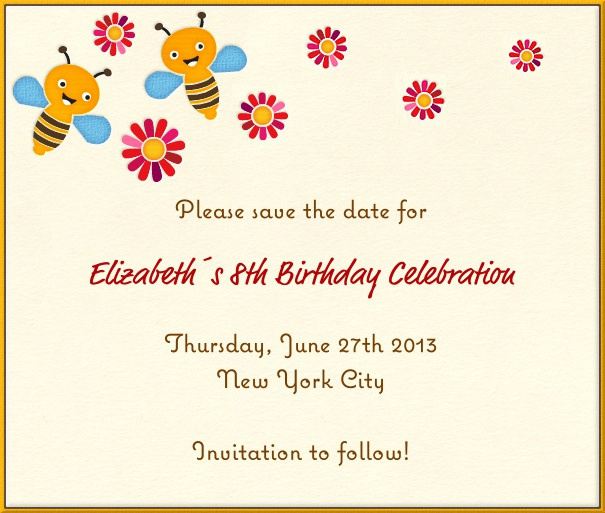 Beige Kids' Birthday Party Save the Date Design with Bees and flowers.
