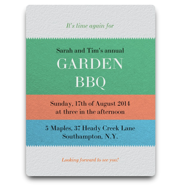 Simple modern invitation card to garden bbq with colourful stripes for event details.
